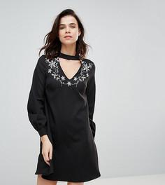 Платье-трапеция с вышивкой Glamorous Tall - Черный