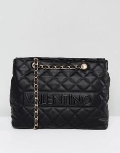 Черная стеганая сумка на плечо Valentino by Mario Valentino - Черный