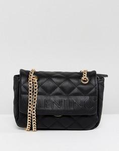 Черная стеганая сумка на плечо с откидным клапаном Valentino by Mario Valentino - Черный