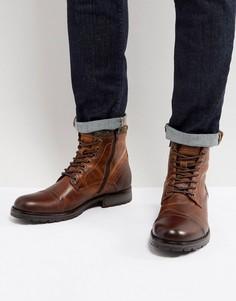 Кожаные ботинки на подкладке из искусственного меха Jack & Jones - Коричневый