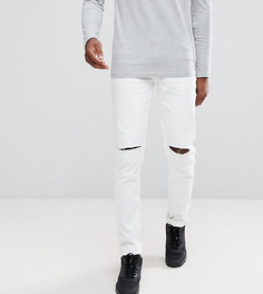 Белые джинсы скинни с рваными коленями ASOS TALL - Белый