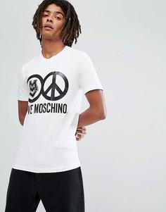 Футболка с пацификом и логотипом Love Moschino - Белый