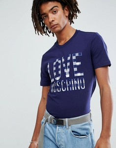 Футболка с клетчатым логотипом Love Moschino - Темно-синий