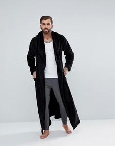 Длинный флисовый халат ASOS - Черный