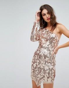 Платье мини на одно плечо с пайетками Love Triangle - Золотой