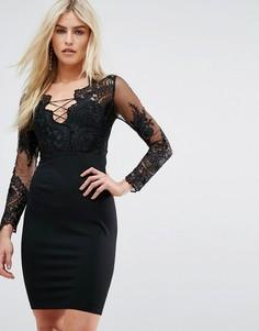 Платье мини с вышитым сетчатым топом и шнуровкой Love Triangle - Черный
