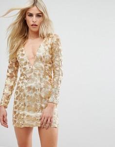 Платье мини с V-образным вырезом и отделкой металлик Love Triangle - Золотой