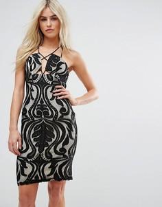 Кружевное платье с ремешками Love Triangle - Черный