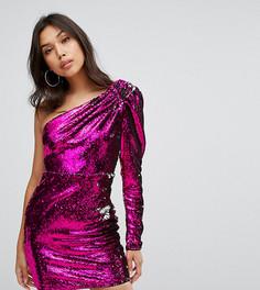 Платье мини на одно плечо с пайетками TFNC - Розовый