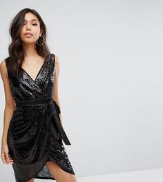 Платье миди с пайетками и атласным поясом TFNC - Черный