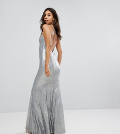 Декорированное пайетками платье макси с бретельками на спине TFNC - Серебряный