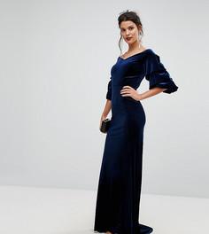 Бархатное платье макси с оборками на рукавах TFNC - Синий