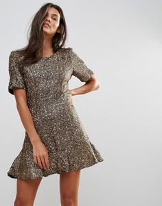 Короткое приталенное платье Millie Mackintosh - Золотой