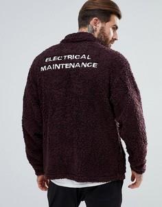 Куртка Харрингтон из искусственного меха с вышивкой ASOS - Красный