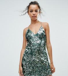 Платье с пайетками Boohoo Petite - Зеленый