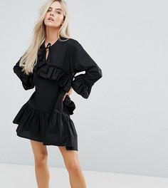 Платье с оборками Boohoo Petite - Черный
