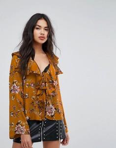 Блузка с оборками и цветочным принтом Missguided - Желтый