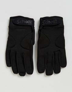 Черные нейлоновые перчатки с флисовой подкладкой Schott - Черный