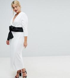 Платье макси с глубоким вырезом и бантом ASOS CURVE - Белый