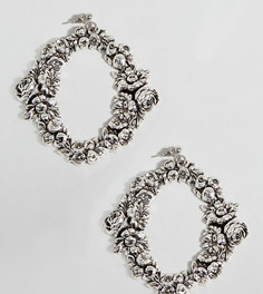 Броские серебряные серьги с цветочной отделкой Regal Rose - Серебряный