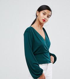 Блузка с запахом John Zack Petite - Зеленый