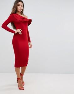 Асимметричное облегающее платье миди с двойной оборкой ASOS - Красный