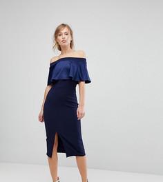 Платье миди с широким вырезом и контрастной атласной отделкой Silver Bloom - Темно-синий