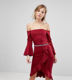 Облегающее платье миди с оборкой Silver Bloom - Красный