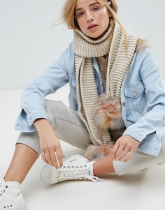 Шарф крупной вязки с помпонами New Look - Белый
