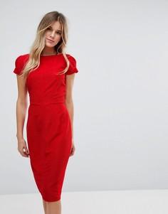 Плиссированное платье-футляр Closet London - Красный