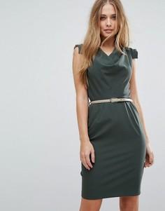 Платье-футляр с поясом и драпировкой Closet London - Зеленый