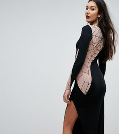 Платье миди с сетчатой вставкой и флоковой паутиной ASOS TALL HALLOWEEN - Черный