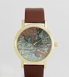 Часы с принтом карты и коричневым кожаным ремешком Reclaimed Vintage Inspired эксклюзивно для ASOS - Коричневый