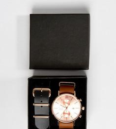Часы с хронографом и сменными кожаными ремешками (коричневый, черный) Reclaimed Vintage эксклюзивно для ASOS - Подарочный набор - Коричневый