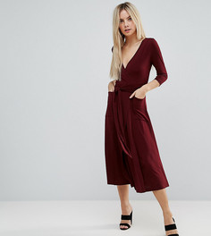Креповое платье миди с запахом ASOS PETITE - Красный