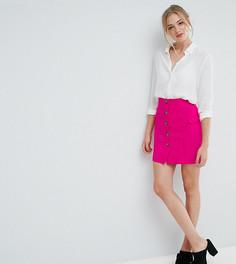 Мини-юбка на пуговицах с завышенной талией и карманом ASOS TALL - Розовый