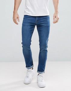 Синие выбеленные джинсы скинни boohooMAN - Синий