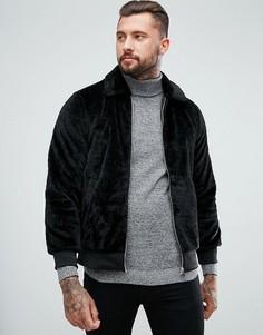 Черная куртка Харрингтон с искусственным мехом boohooMAN - Черный