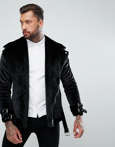 Черная велюровая байкерская куртка boohooMAN - Черный