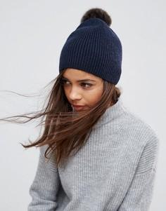 Кашемировая шапка-бини Pieces Jettie - Темно-синий