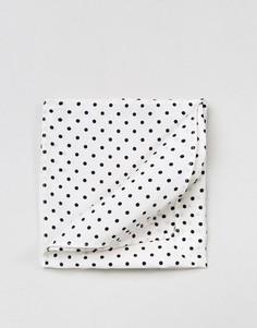 Платок для нагрудного кармана в горошек ASOS - Белый
