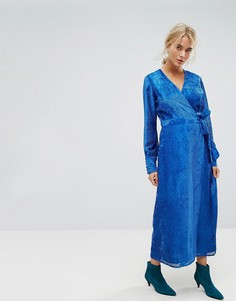 Платье макси с бархатистой отделкой и поясом Gestuz - Синий