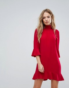 Платье с воротником-стойкой и оборками на рукавах Sisley High Sleeves - Красный