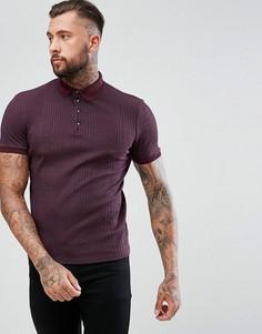 Бордовая обтягивающая футболка-поло в рубчик River Island - Красный
