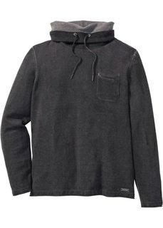 Пуловер Slim Fit с воротником-шалью (антрацитовый) Bonprix