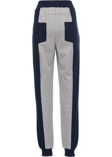 Трикотажные брюки (светло-серый меланж/синий) Bonprix