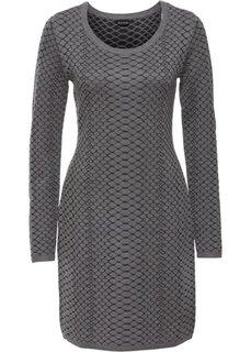 Вязаное платье (серый меланж/антрацитовый) Bonprix