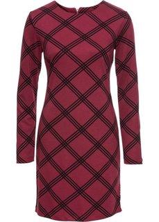 Платье из трикотажа (бордовый/черный в клетку) Bonprix