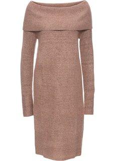 Вязаное платье с открытыми плечами (винтажно-розовый меланж) Bonprix