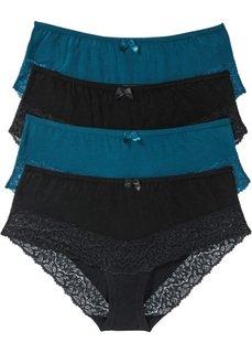 Трусики-панти (4 шт.) (серо-синий/черный) Bonprix
